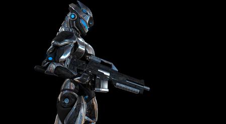 droid: Futuristic super soldier Stock Photo