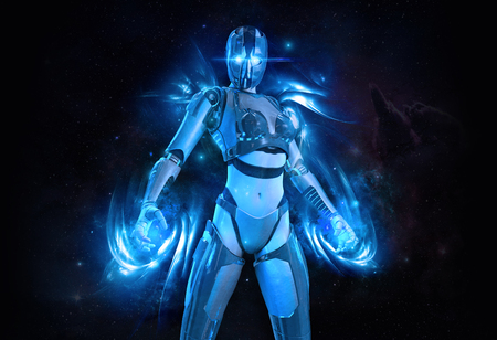 Cyborg-vrouwtje met energie