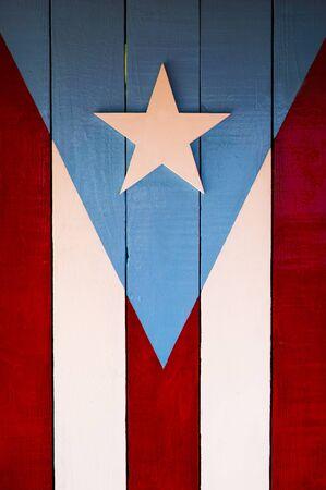 Puerto Rico flag painted on wood