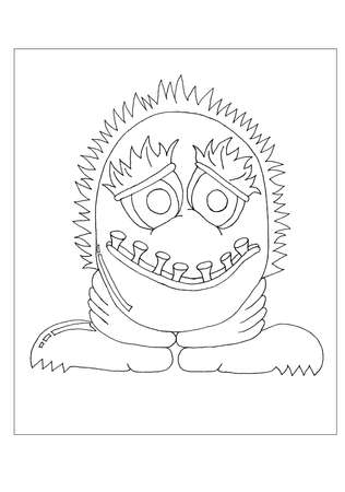 A hairy alien monster for colouring.