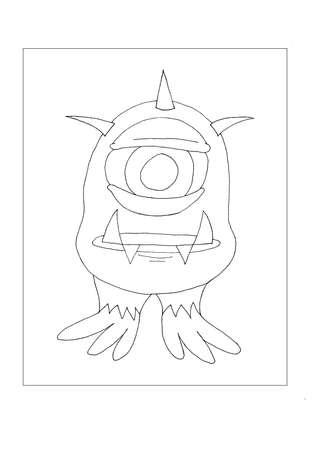 An one eyed alien monster for colouring. Stock Photo