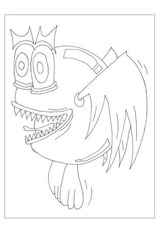 A flying alien monster for colouring. Stock Photo