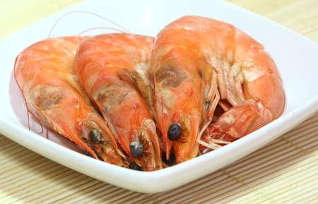 Fresh steamed prawns. Stock Photo