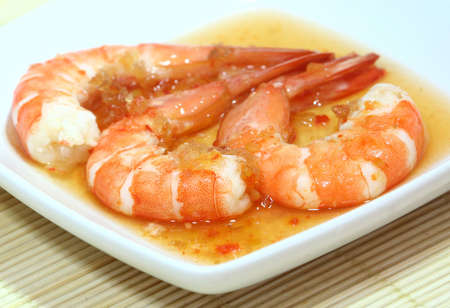 Fresh steamed prawns. Stock Photo