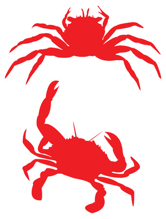 Crab in red silhouettes.