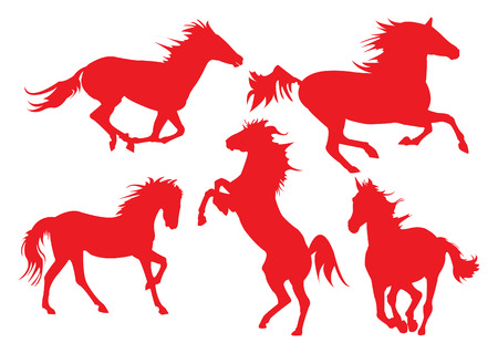 Horse in red silhouettes. Stock Vector - 7629392