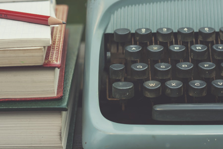 screenwriter: typewriter and book close up Stock Photo