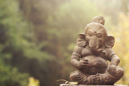Ganesh decorative stone statue, copy space