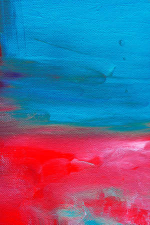 Red and blue painted canvas background or texture Banque d'images