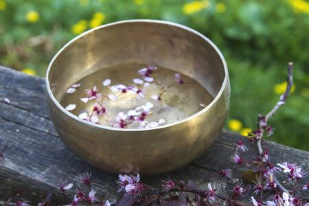 Tibetan singing bowl with flowers