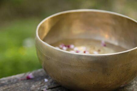 Tibetan singing bowl with flowers