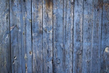 Blue painted rustic wooden planks wall Imagens