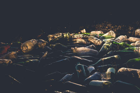 A pile of glass bottles in a garbage dump