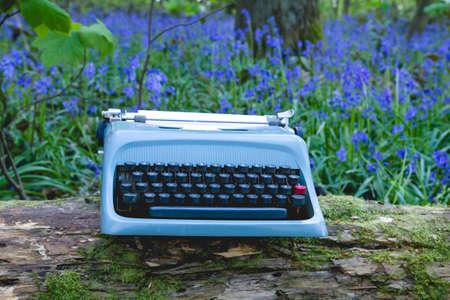 Old blue typewriter in the springtime forest Foto de archivo