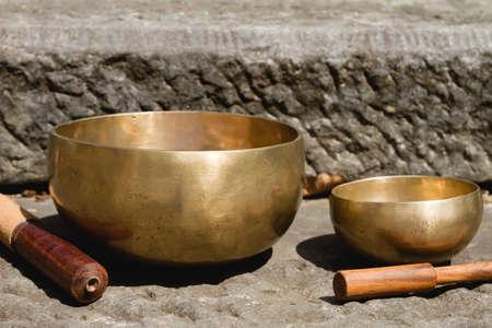 Tibetan singing bowl made of seven metals Stockfoto