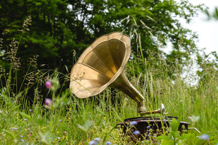 Old vintage gramophone playing music in the green springtime garden Imagens