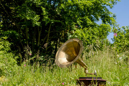 Old vintage gramophone on the green grass