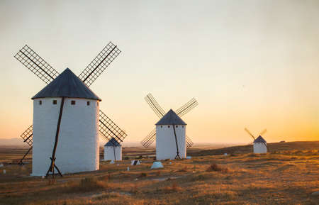 Old traditional tower mills in Campo de Criptana, Spain