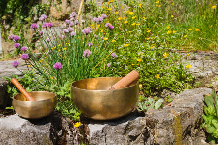Tibetan singing bowl made of seven metals Stock fotó