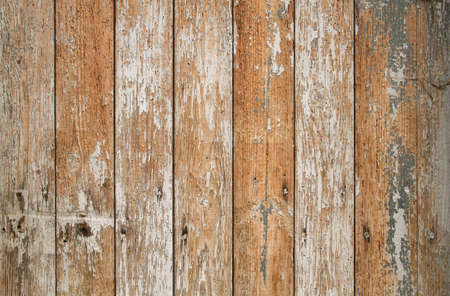 Old rustic wooden wall texure with white peeling paint, grunge background Stock fotó