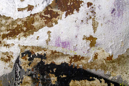 Old corroded metal with peeling paint, abstract grunge background or texture