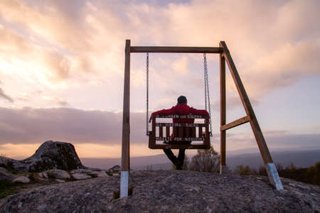 Swing with a view in Ribeira Sacra, Galicia, Spain