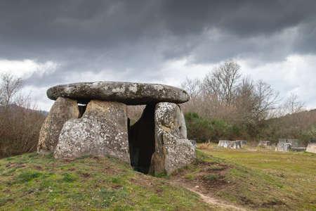 A Casiña da Moura, megalithic dolmen of Maus de Salas, Muiños, burial monuments in Ourense Province, Galicia, Spain