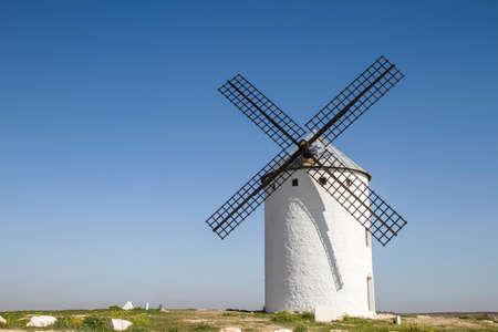 Traditional windmill in Campo de Criptana, La Mancha, Ciudad Real, Spain