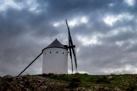 Old windmill in Alcazar de San Juan, La Mancha, Spain