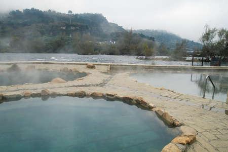 Hot springs Muino da Veiga, pools in Minho riverbed in Ourense, Spain