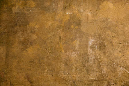Golden abstract knife palette painting on canvas, grunge background or texture