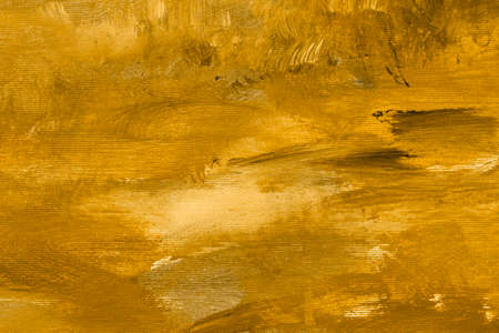 Golden abstract painting background grunge stained, canvas texture