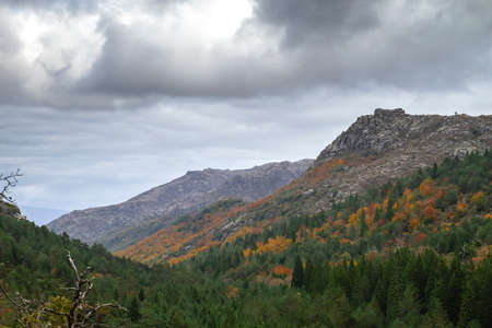 Granitic mountains and autumnal colored temperate broadleaf and mixed forest landscape in Peneda-Geres National Park, Portugal Standard-Bild