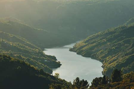 Sil river canyon landscape in Ribeira Sacra, Galicia, Spain