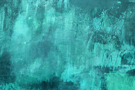 Turquouise colored stained abstract painting backdrop, grunge background or texture