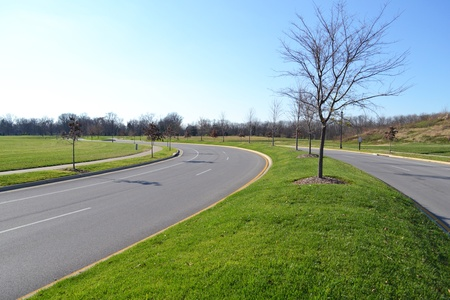 Newly Constructed Suburban Roadway photo