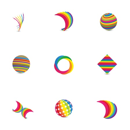 Colorful Abstract Logo Design Elements Çizim