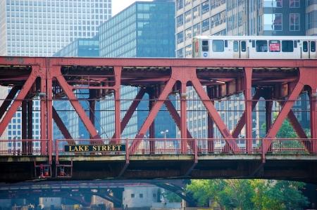 The CTA Train in Chicago, Illinois crossing river bridge