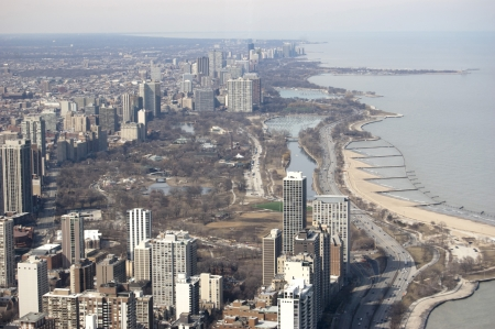 lincoln: Aerial View of Lincoln Park in Chicago, Illinois Stock Photo