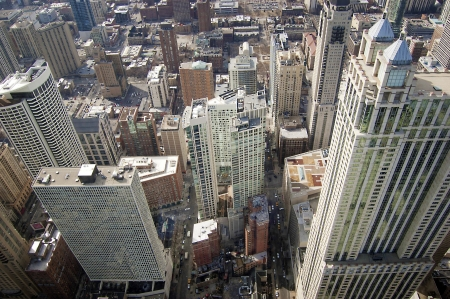 overlook: Aerial of Chicago Buildings During the Wintertime  Stock Photo