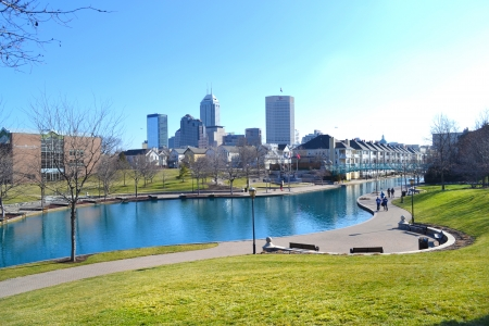 Indianapolis Skyline from the Canal on Superbowl Sunday Banque d'images
