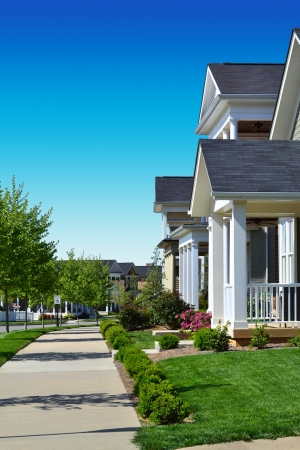 cape cod style: Brand New Neighborhood Stock Photo
