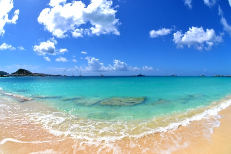 Tropical Caribbean Beach on a Sunny Summer Day photo