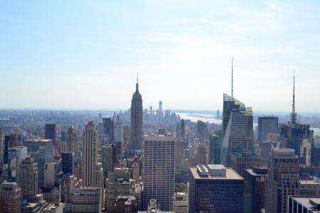 Aerial View of New York City Skyline Фото со стока