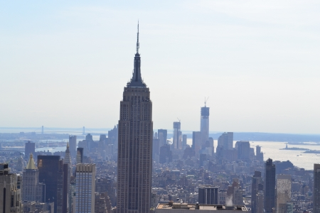 Aerial View of New York City Skyline Редакционное