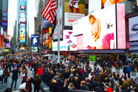 Crowd of People in Times Square in New York City