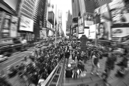 Crowd of Rushing People in Times Square in New York City