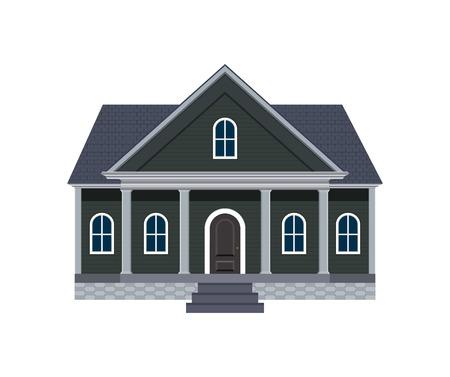 Noord-Amerikaanse Huis met grote veranda Vector Illustratie