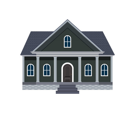 North American House with Large Front Porch Vector Illustration Vector