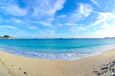 simpson: Caribbean Island Beach at Dusk Just Before the Sunset